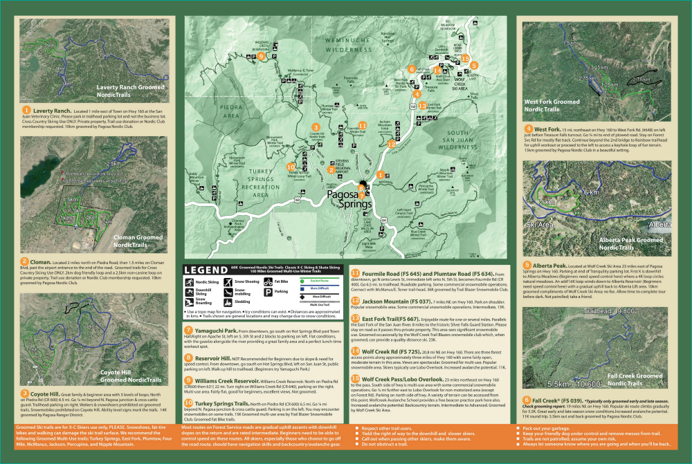 Trail Information Maps Pagosa Springs Nordic Club - Eastern-us-ski-resorts-map
